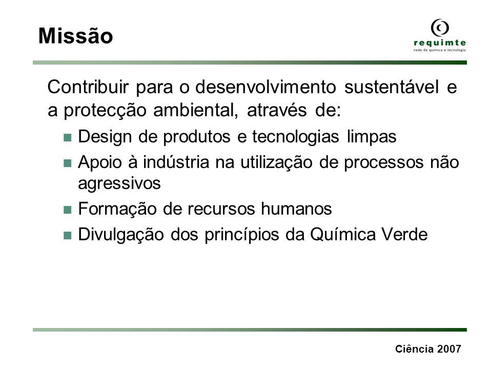 Missão Contribuir para o desenvolvimento sustentável e a protecção ambiental, através de: Design de produtos e tecnologias limpas.