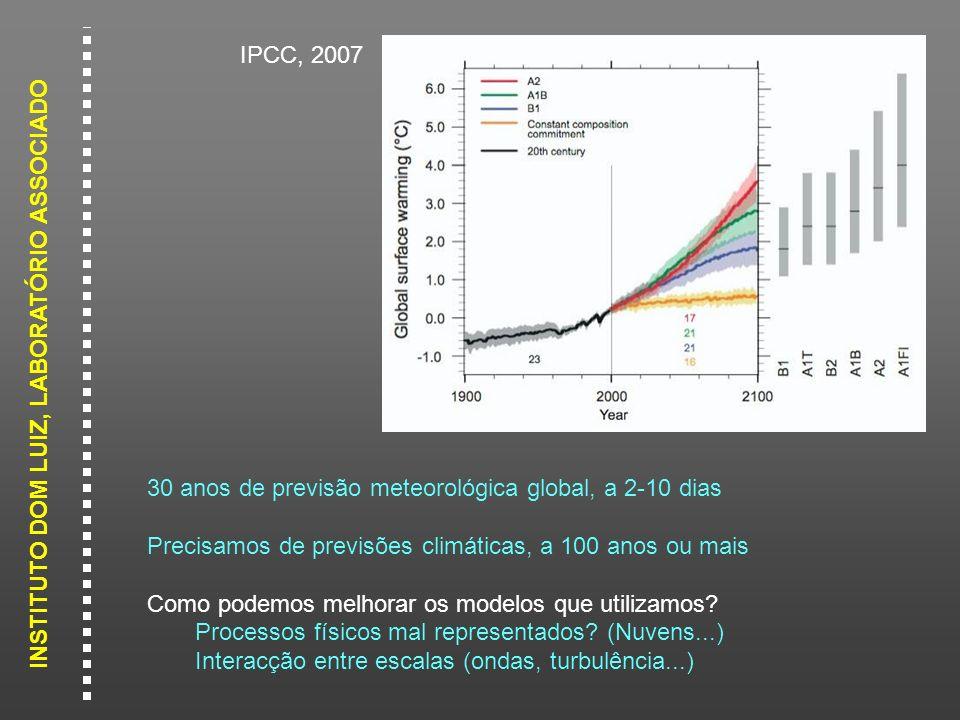 IPCC, 2007 30 anos de previsão meteorológica global, a 2-10 dias. Precisamos de previsões climáticas, a 100 anos ou mais.