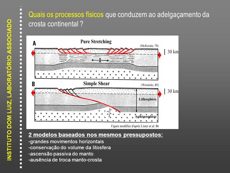 Quais os processos físicos que conduzem ao adelgaçamento da crosta continental