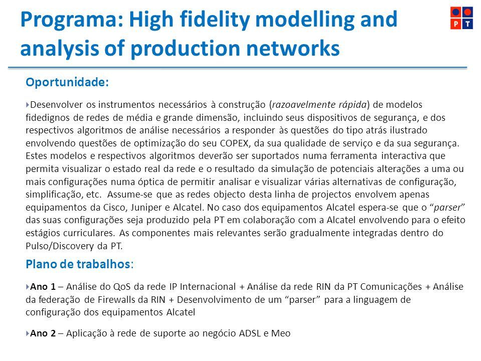 Programa: High fidelity modelling and analysis of production networks