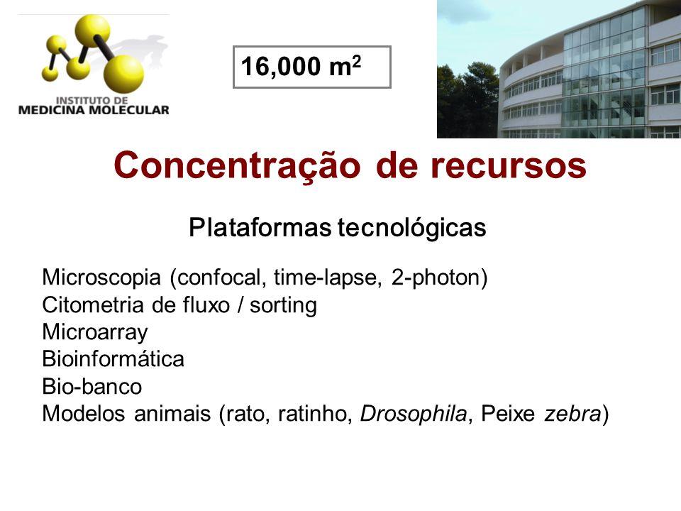 Concentração de recursos Plataformas tecnológicas