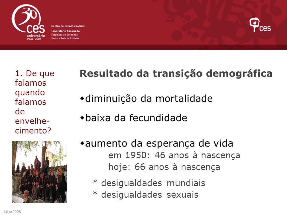 Resultado da transição demográfica diminuição da mortalidade