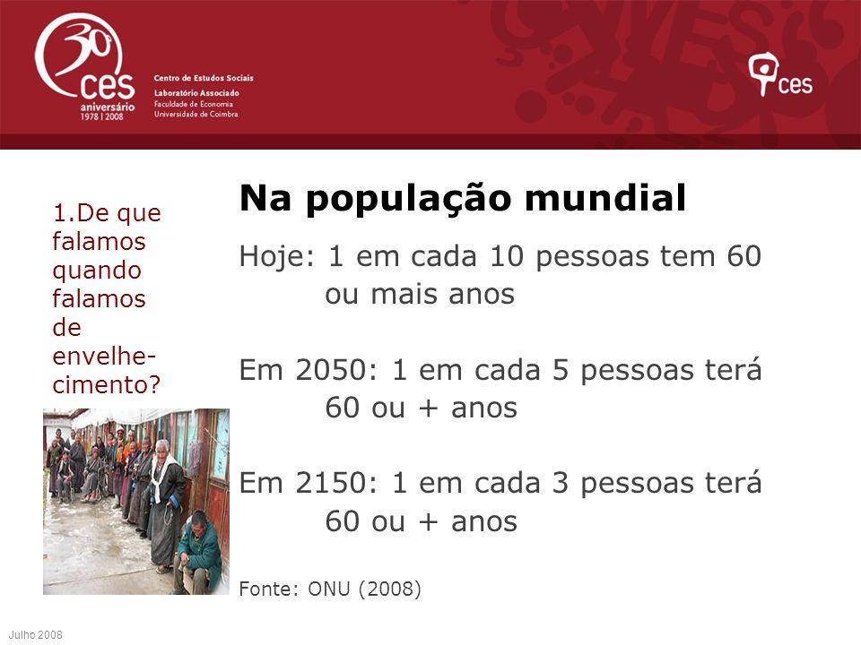 Na população mundial Hoje: 1 em cada 10 pessoas tem 60 ou mais anos