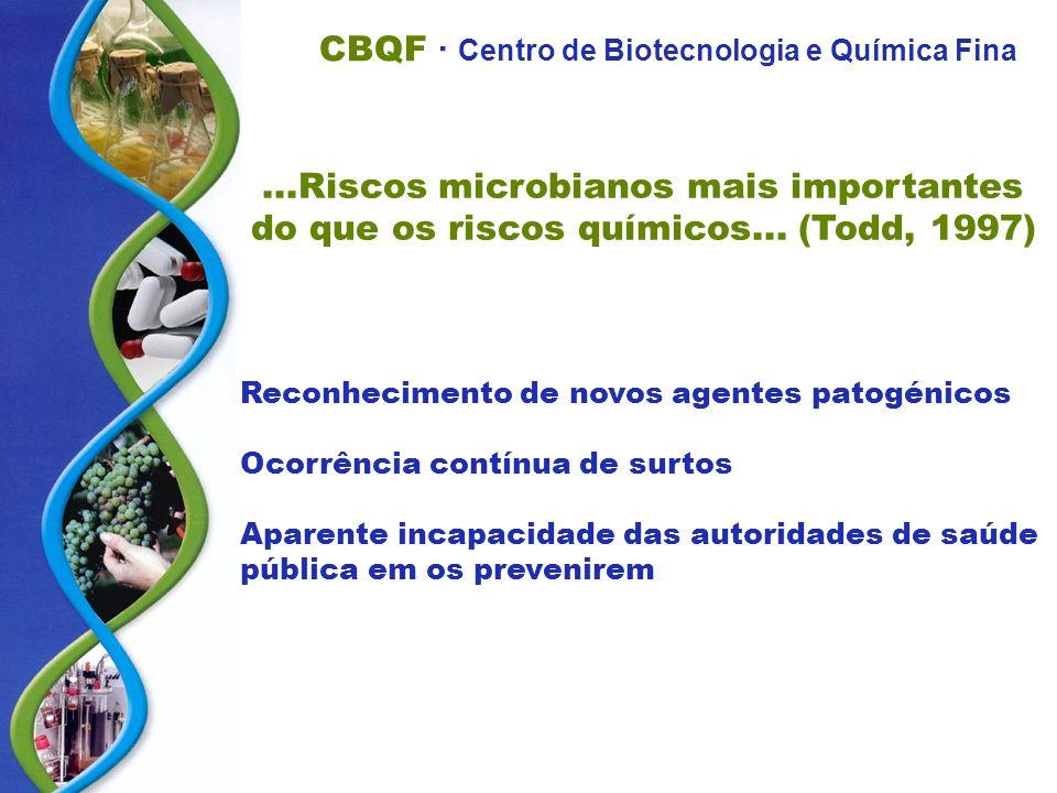 Riscos microbianos mais importantes do que os riscos químicos