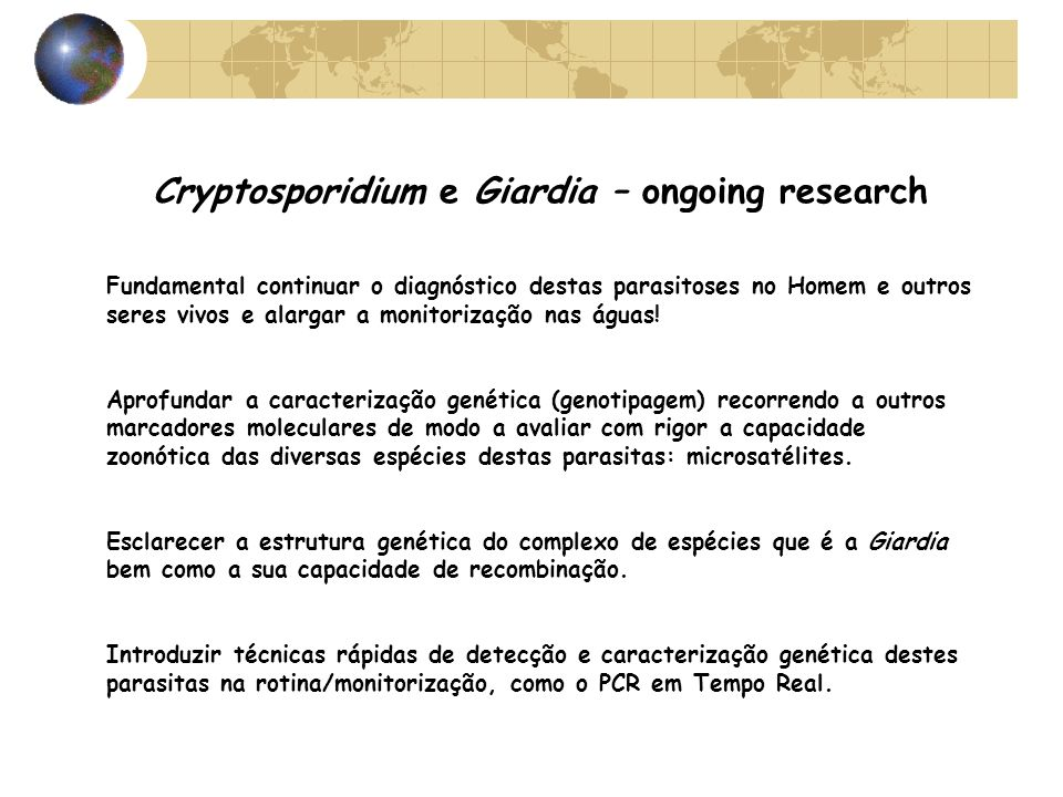 Cryptosporidium e Giardia – ongoing research