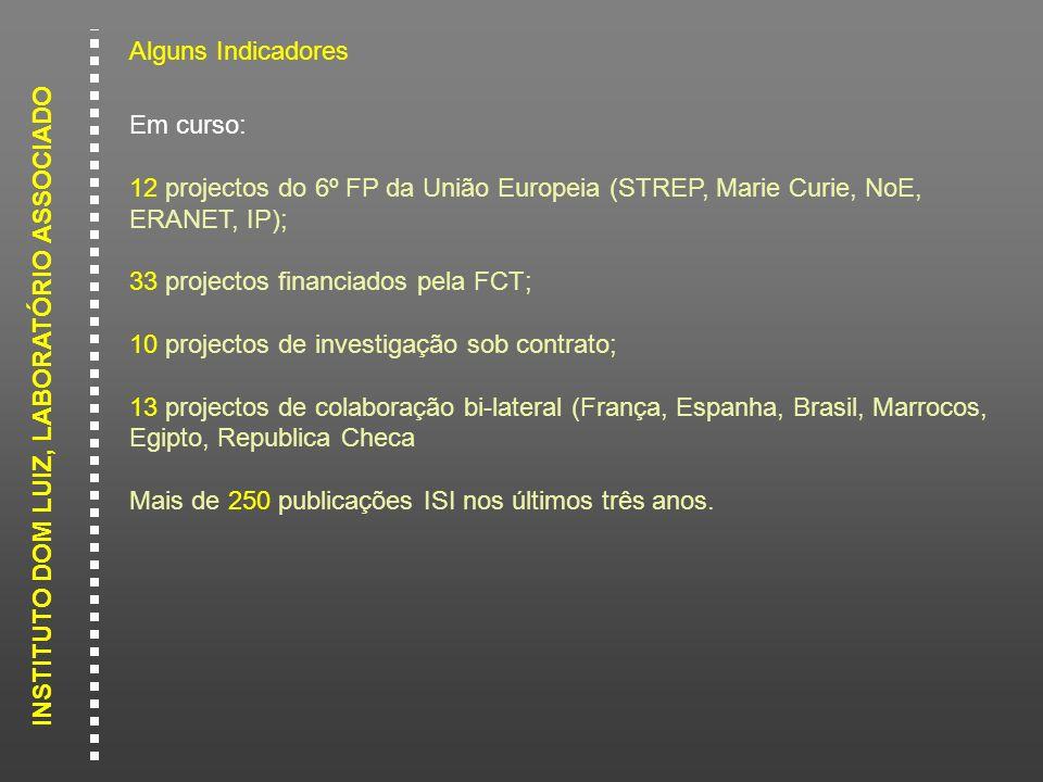 Alguns Indicadores Em curso: 12 projectos do 6º FP da União Europeia (STREP, Marie Curie, NoE, ERANET, IP);