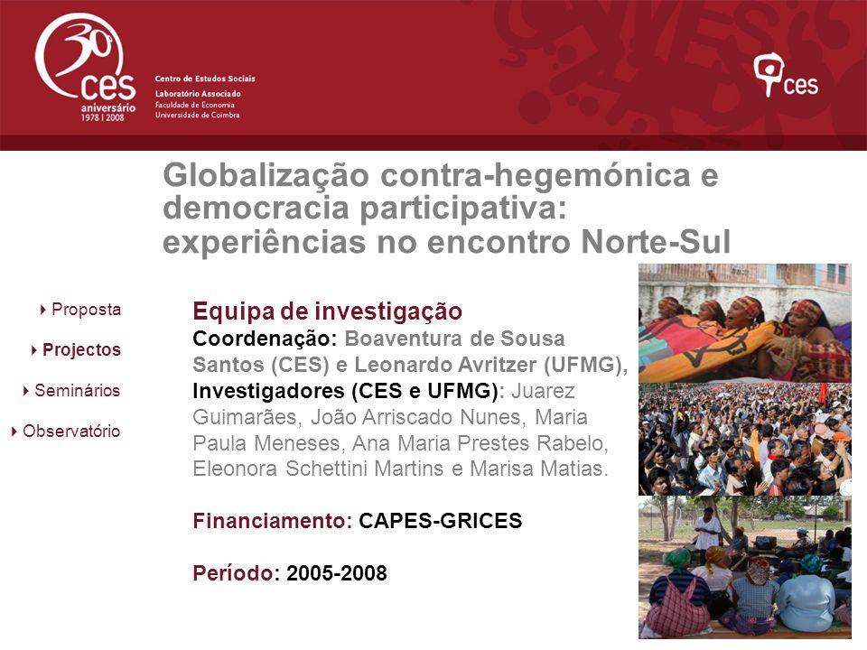 Globalização contra-hegemónica e democracia participativa: experiências no encontro Norte-Sul
