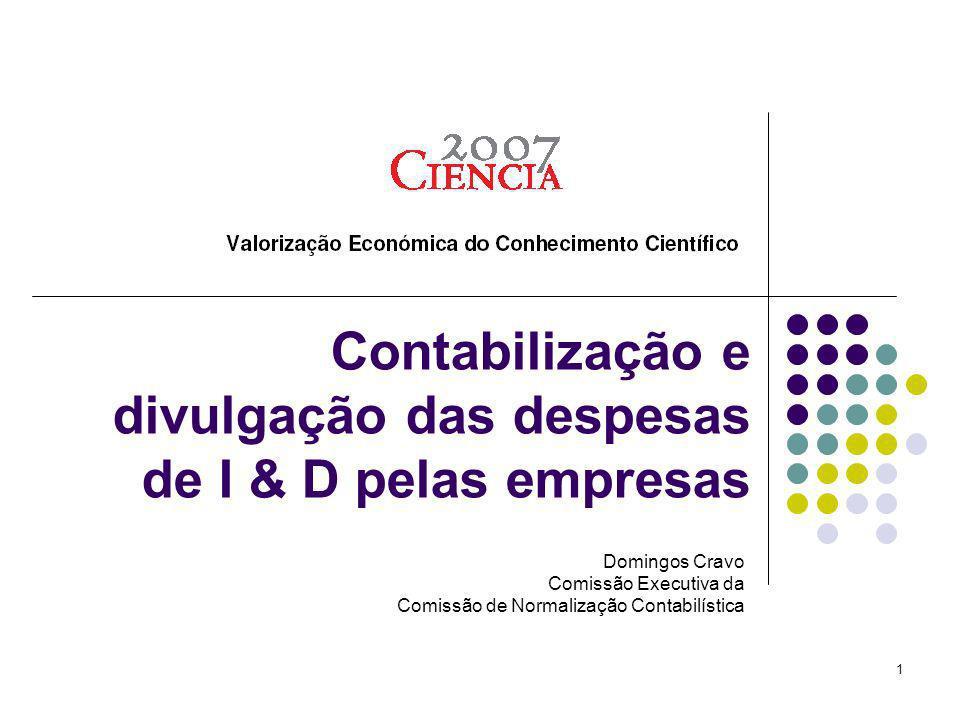 Contabilização e divulgação das despesas de I & D pelas empresas