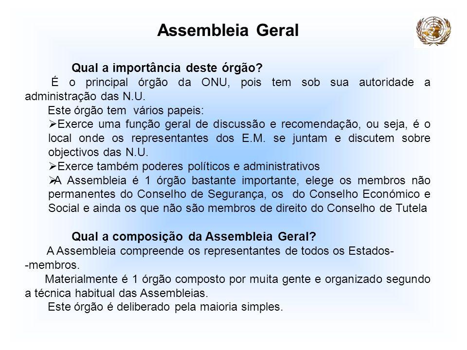 Assembleia Geral Qual a importância deste órgão