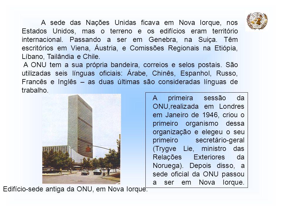 A sede das Nações Unidas ficava em Nova Iorque, nos Estados Unidos, mas o terreno e os edifícios eram território internacional. Passando a ser em Genebra, na Suiça. Têm escritórios em Viena, Áustria, e Comissões Regionais na Etiópia, Líbano, Tailândia e Chile.