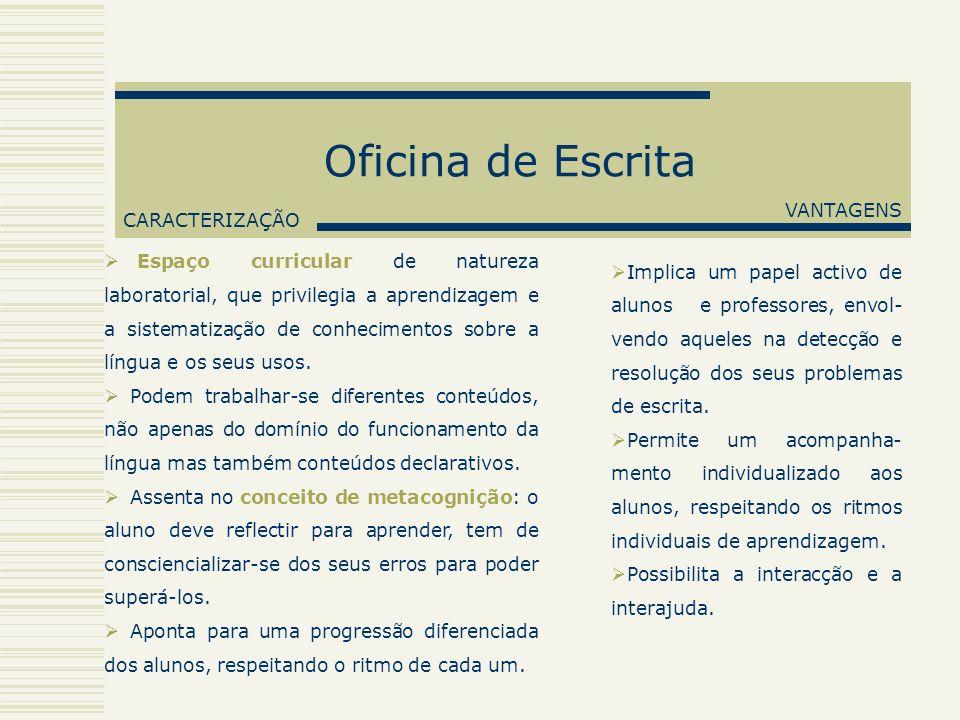 Oficina de Escrita VANTAGENS CARACTERIZAÇÃO