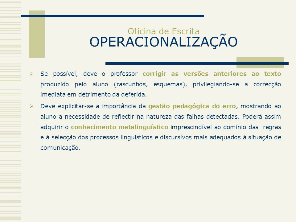 Oficina de Escrita OPERACIONALIZAÇÃO