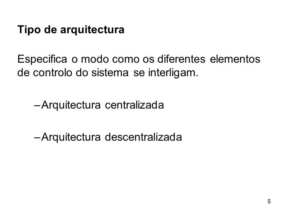 Tipo de arquitectura Especifica o modo como os diferentes elementos de controlo do sistema se interligam.