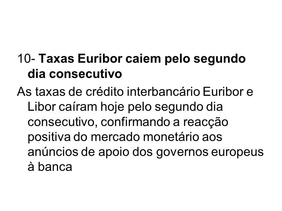 10- Taxas Euribor caiem pelo segundo dia consecutivo
