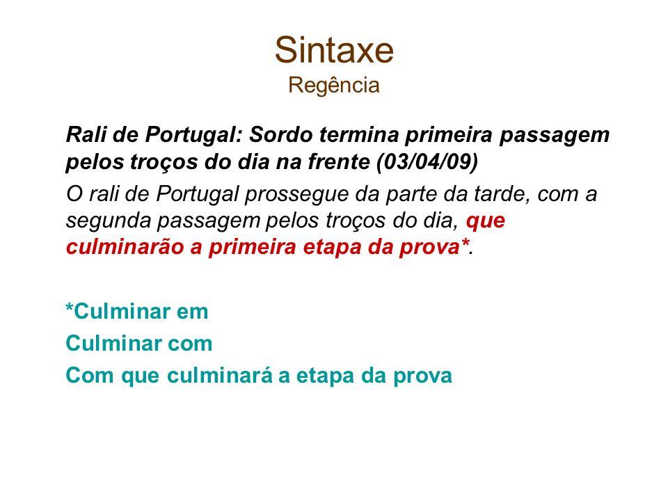 Sintaxe RegênciaRali de Portugal: Sordo termina primeira passagem pelos troços do dia na frente (03/04/09)