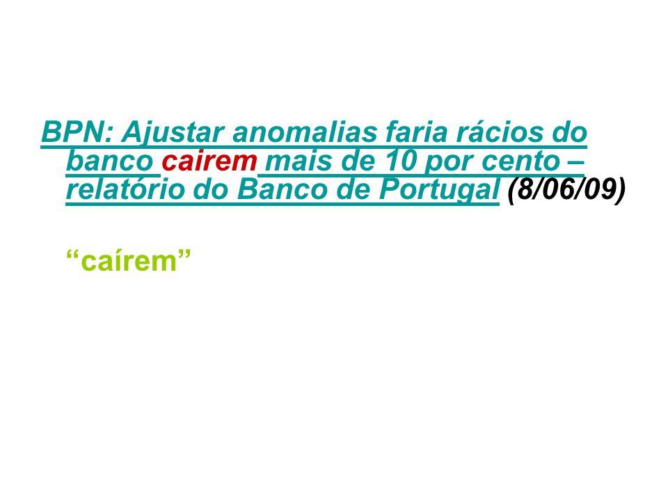 BPN: Ajustar anomalias faria rácios do banco cairem mais de 10 por cento – relatório do Banco de Portugal (8/06/09)