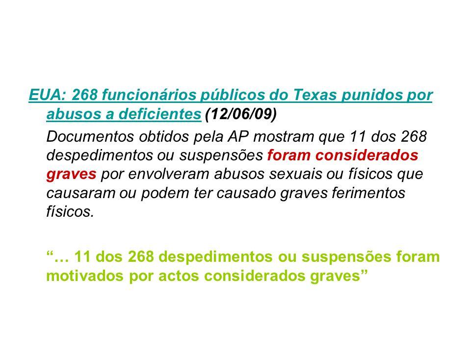 EUA: 268 funcionários públicos do Texas punidos por abusos a deficientes (12/06/09)