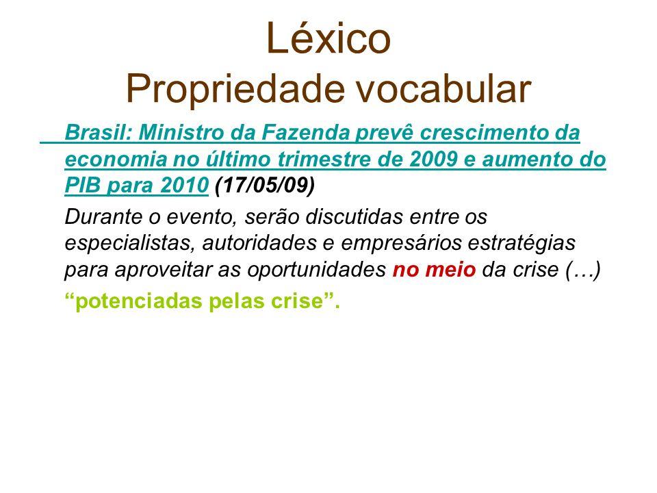 Léxico Propriedade vocabular