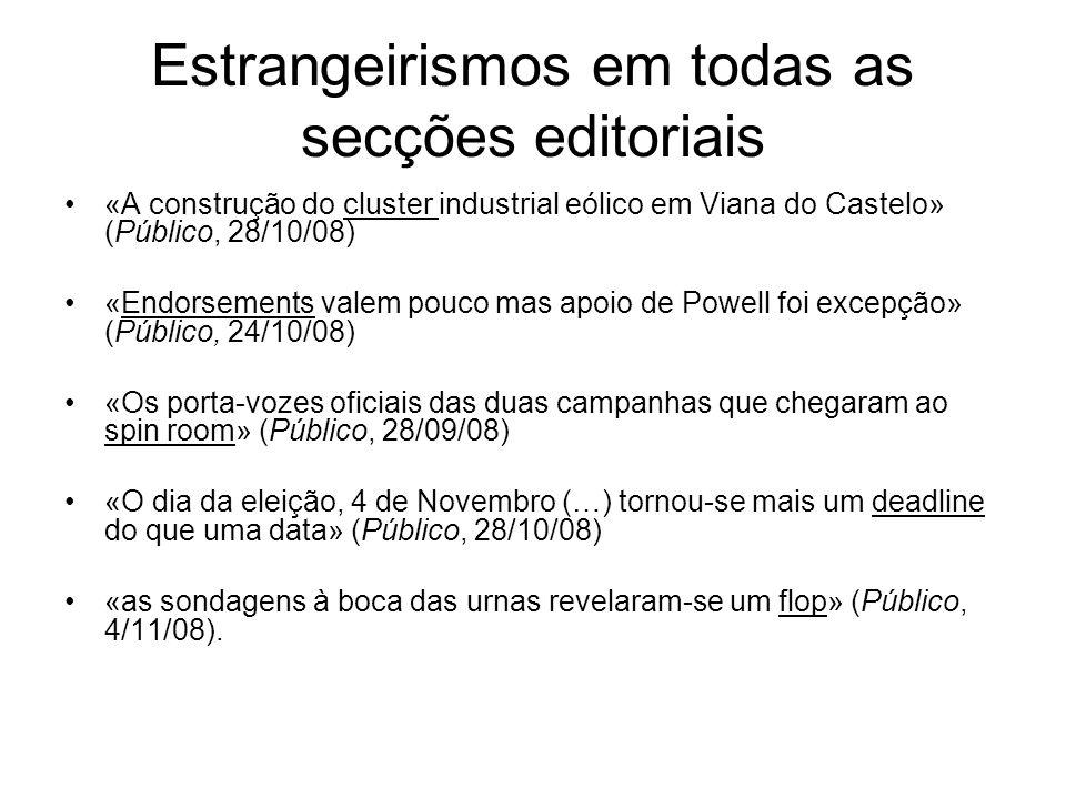 Estrangeirismos em todas as secções editoriais