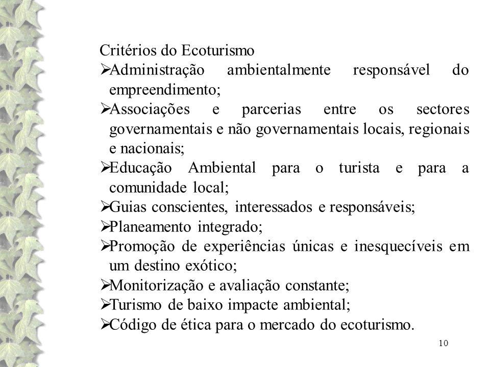 Critérios do Ecoturismo