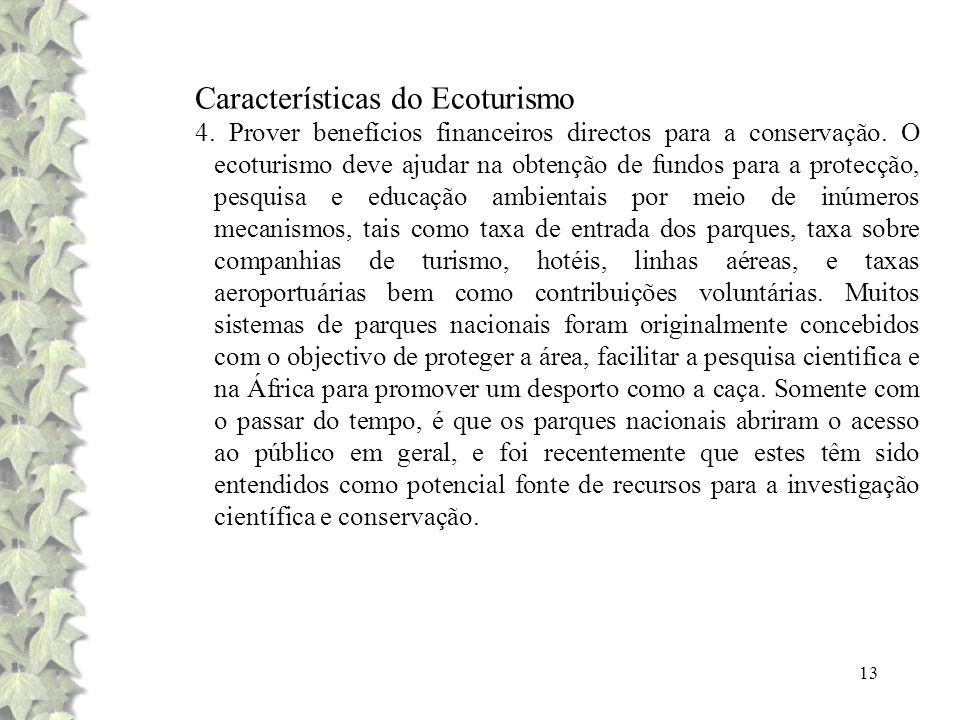 Características do Ecoturismo