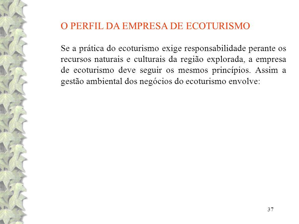 O PERFIL DA EMPRESA DE ECOTURISMO