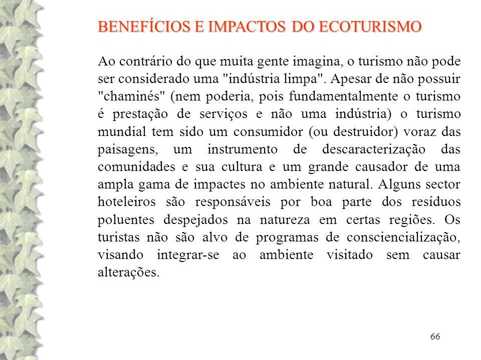 BENEFÍCIOS E IMPACTOS DO ECOTURISMO