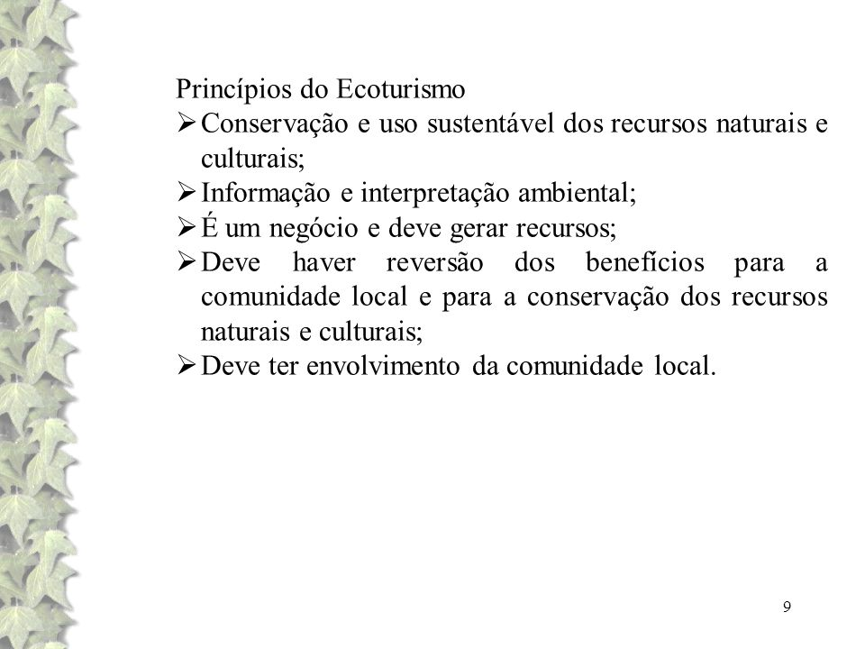 Princípios do Ecoturismo