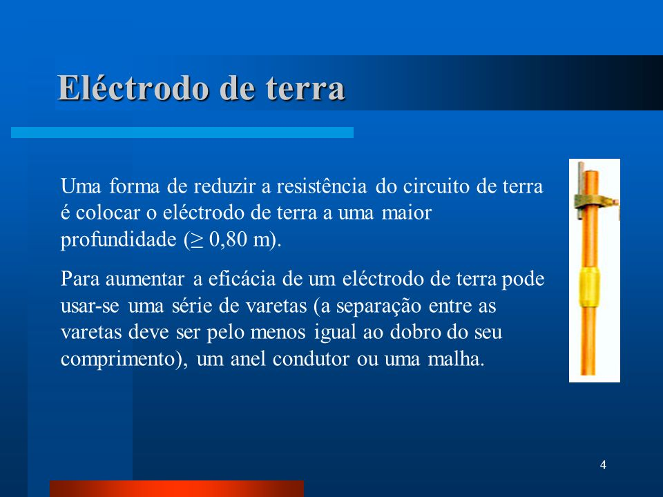 Eléctrodo de terra Uma forma de reduzir a resistência do circuito de terra é colocar o eléctrodo de terra a uma maior profundidade (≥ 0,80 m).