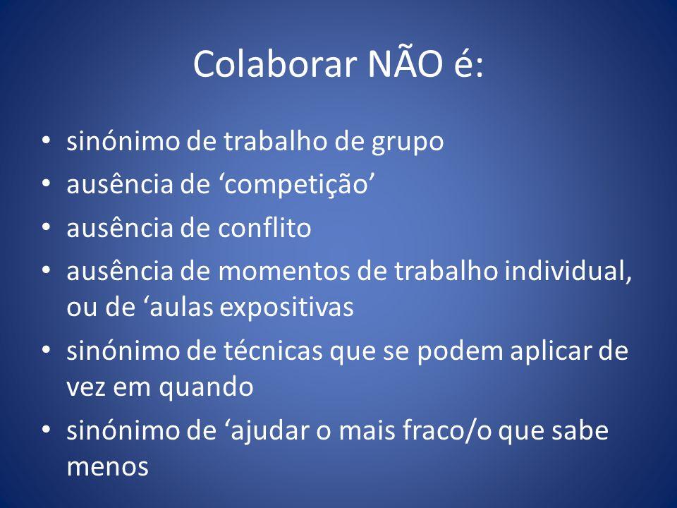 Colaborar NÃO é: sinónimo de trabalho de grupo
