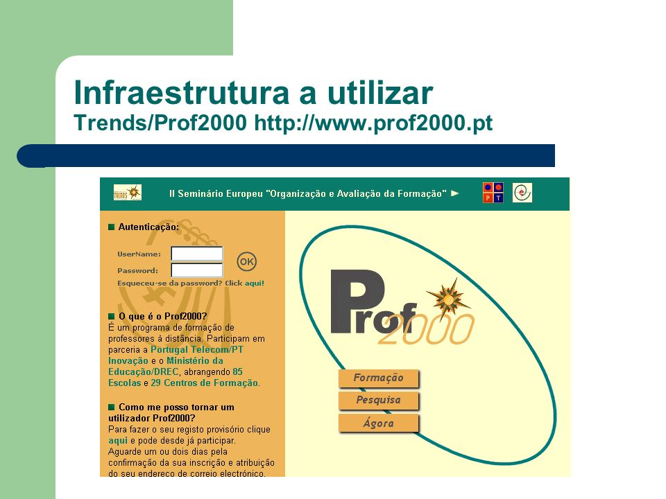 Infraestrutura a utilizar Trends/Prof2000 http://www.prof2000.pt
