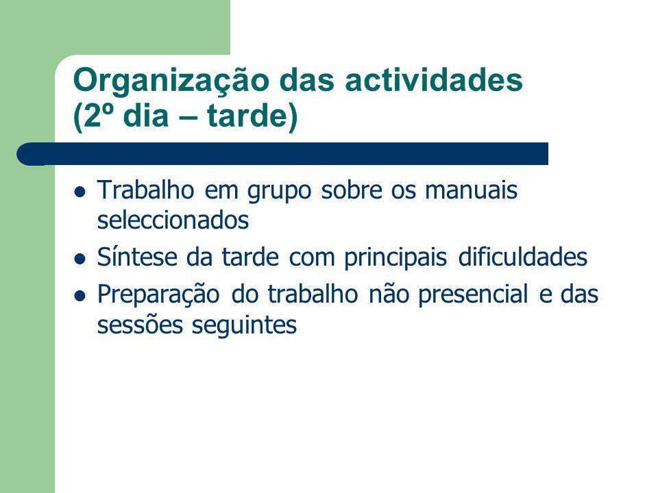 Organização das actividades (2º dia – tarde)