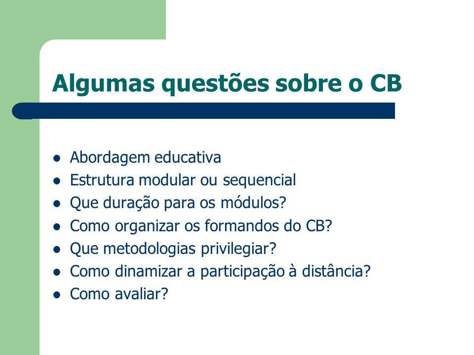 Algumas questões sobre o CB