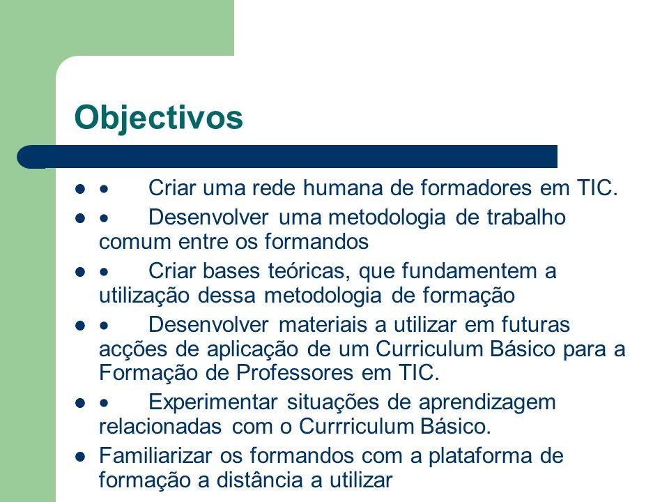 Objectivos · Criar uma rede humana de formadores em TIC.
