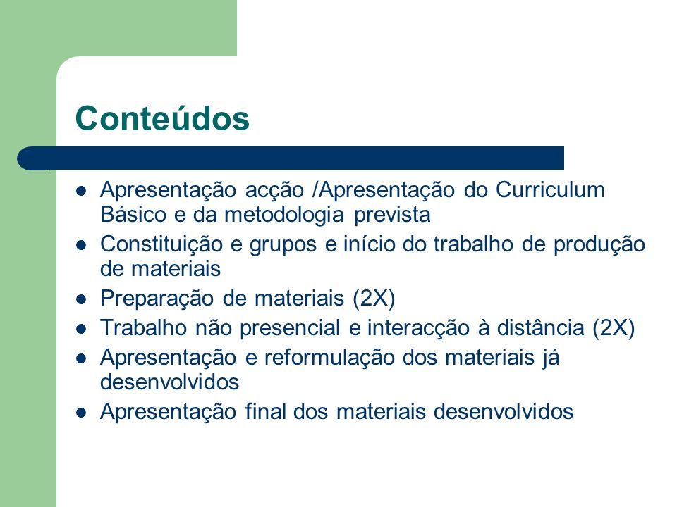 Conteúdos Apresentação acção /Apresentação do Curriculum Básico e da metodologia prevista.