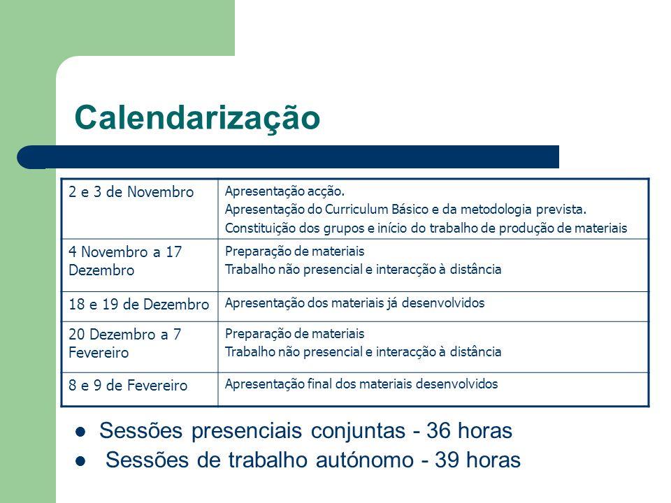 Calendarização Sessões presenciais conjuntas - 36 horas