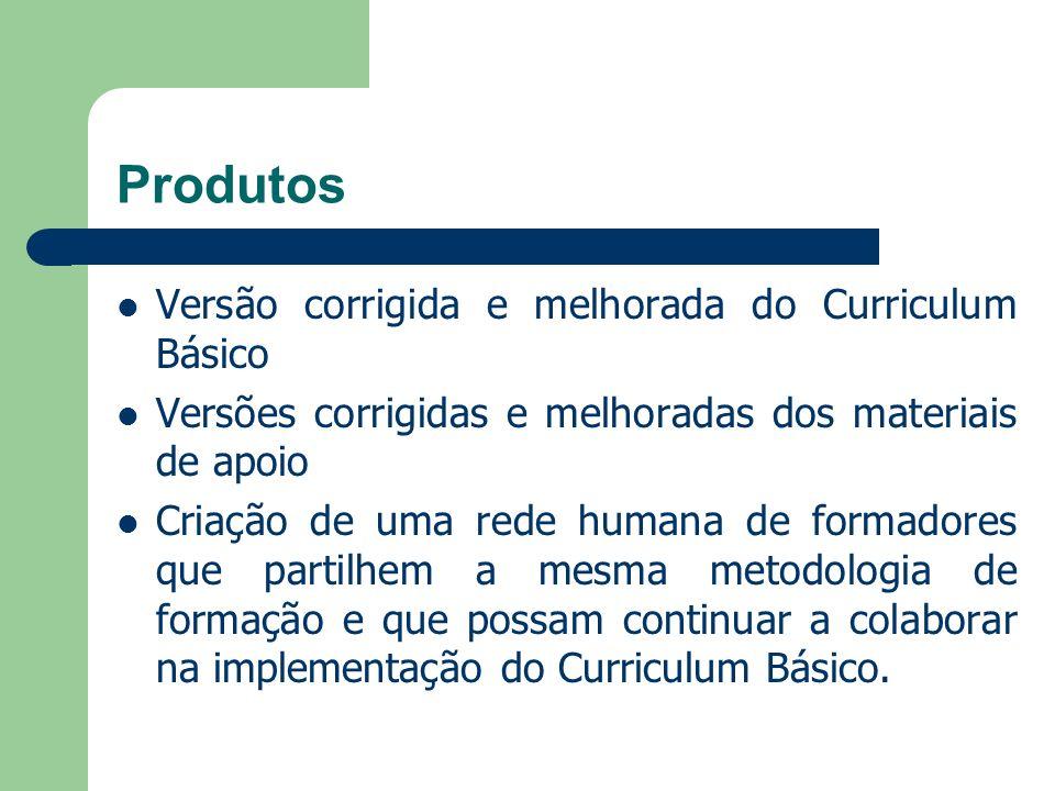 Produtos Versão corrigida e melhorada do Curriculum Básico