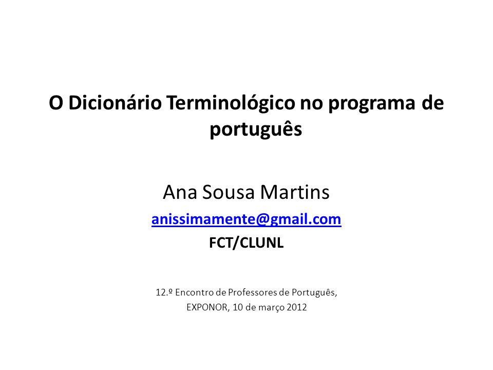 O Dicionário Terminológico no programa de português