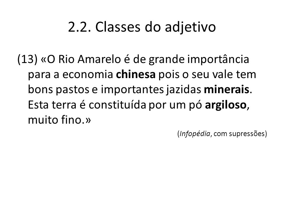 2.2. Classes do adjetivo