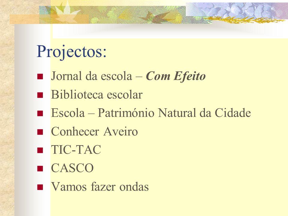 Projectos: Jornal da escola – Com Efeito Biblioteca escolar