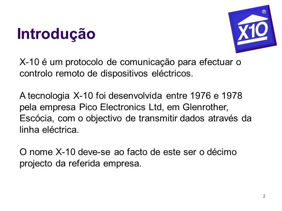 IntroduçãoX-10 é um protocolo de comunicação para efectuar o controlo remoto de dispositivos eléctricos.