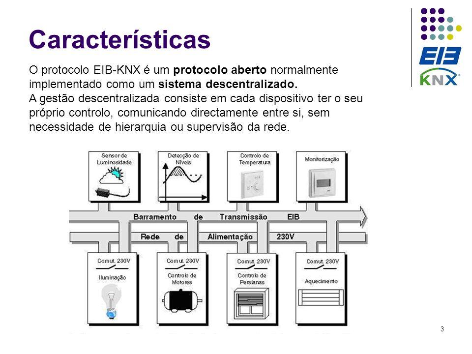 Características O protocolo EIB-KNX é um protocolo aberto normalmente implementado como um sistema descentralizado.