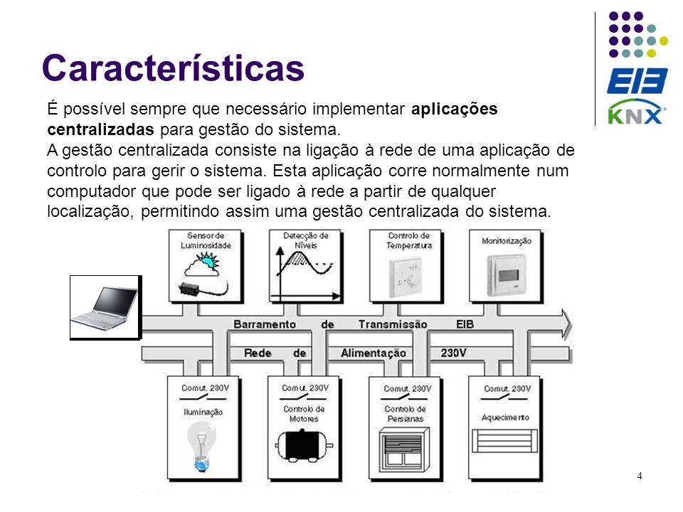 Características É possível sempre que necessário implementar aplicações centralizadas para gestão do sistema.