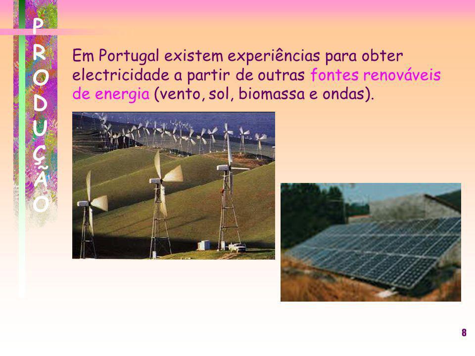 PRODUÇÃOEm Portugal existem experiências para obter electricidade a partir de outras fontes renováveis de energia (vento, sol, biomassa e ondas).