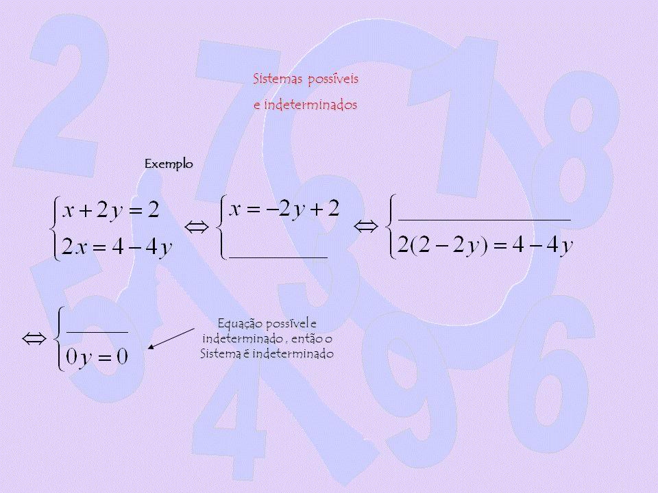 Equação possível e indeterminado , então o Sistema é indeterminado