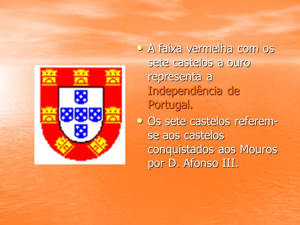 A faixa vermelha com os sete castelos a ouro representa a Independência de Portugal.
