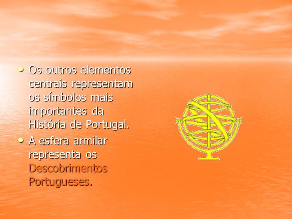 Os outros elementos centrais representam os símbolos mais importantes da História de Portugal.
