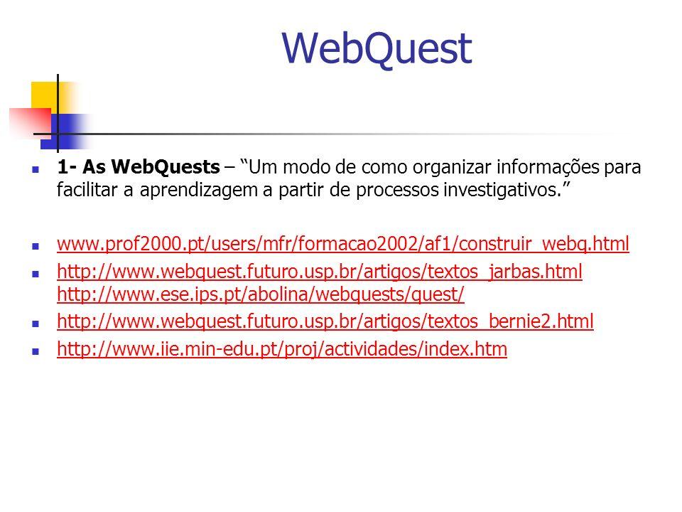 WebQuest 1- As WebQuests – Um modo de como organizar informações para facilitar a aprendizagem a partir de processos investigativos.
