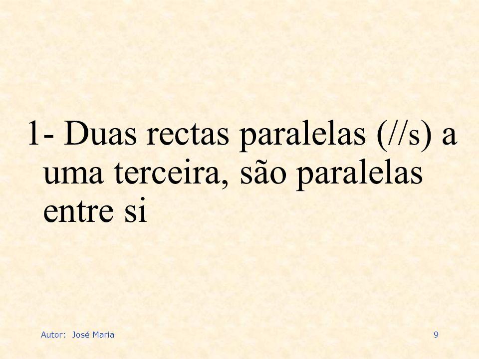 1- Duas rectas paralelas (//s) a uma terceira, são paralelas entre si