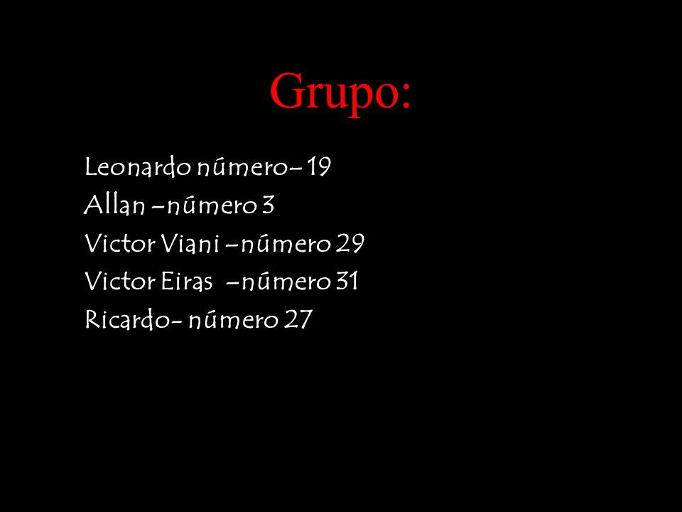 Grupo: Leonardo número– 19 Allan –número 3 Victor Viani –número 29